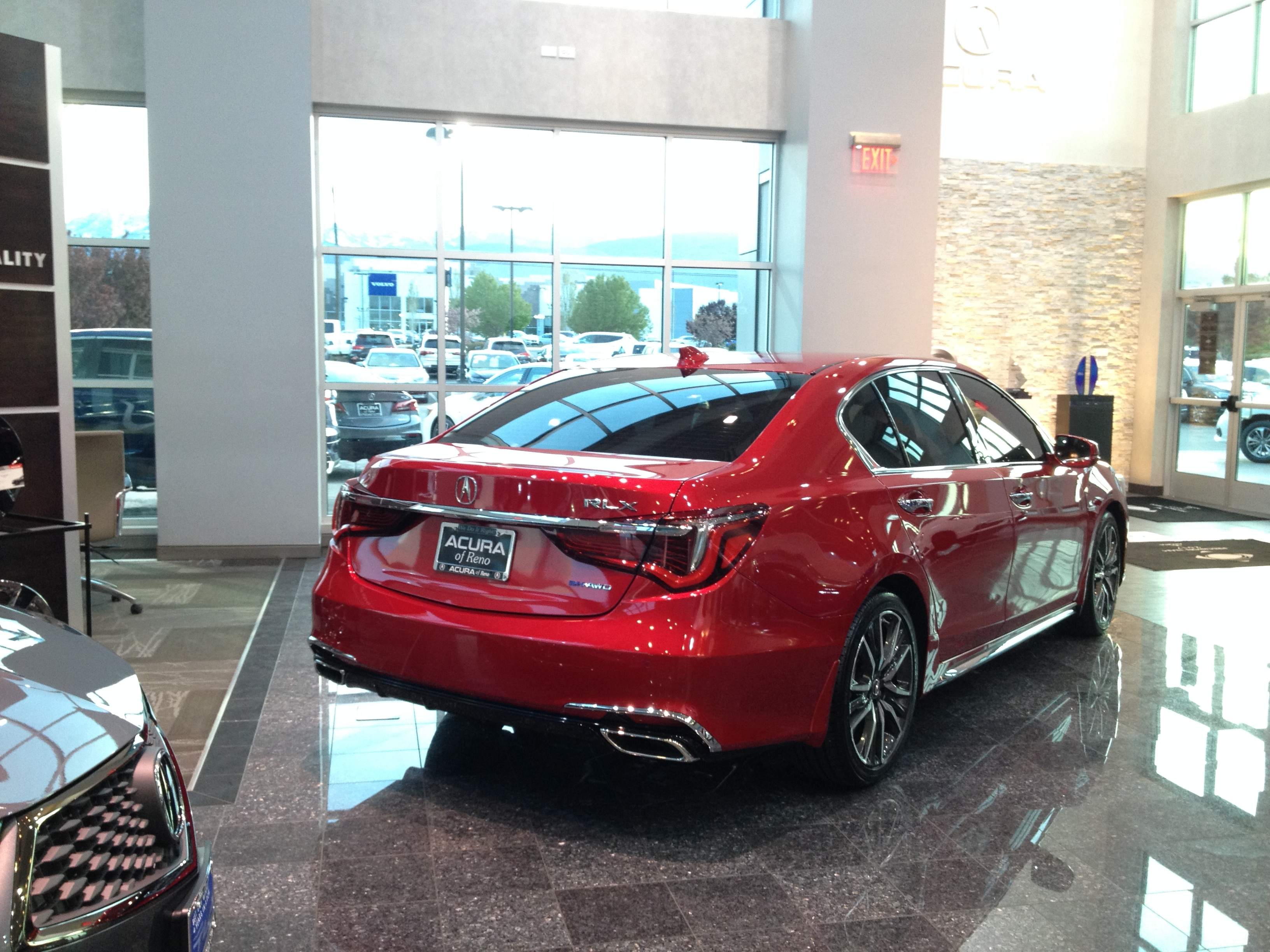 acura rlx sport hybred car 2018 hypnotic red reno nv  passengers rear side view